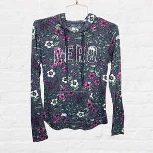 Aeropostale Lightweight Floral Pullover Hoodie S